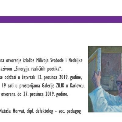 """Izložba Milivoja Svobode i Nedeljka Tintora  """"Sinergija različitih poetika""""."""